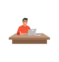 Guy sitting at the desk and studying using his vector