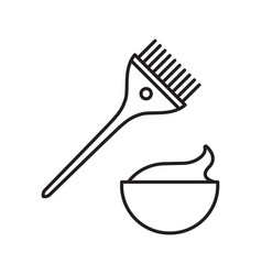 Hair dyeing kit linear icon vector