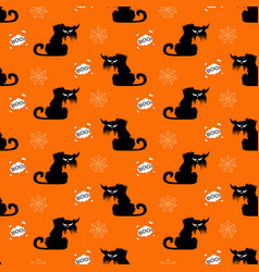 halloween cats seamless pattern on orange vector image
