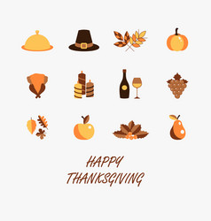 happy thanksgiving color set for greeting vector image
