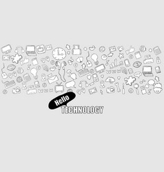 hello technology background with media icons vector image