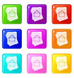 House blueprint icons 9 set vector