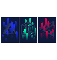 Impossible geometric shapes and color gradient vector