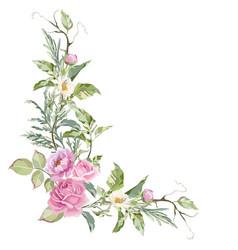 Ink rose peony and jasmine vector