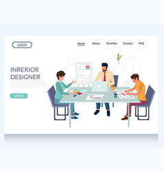 interior designer website landing page vector image