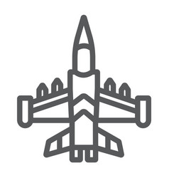 Jet fighter line icon army and force military vector