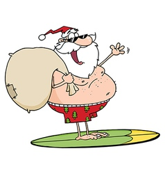 Jolly Santa Claus Surfing With His Sack vector image
