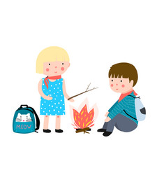 Kids camping fire vector