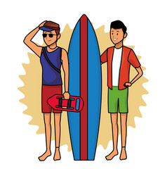 Lifeguard with man and surfboard black and white vector