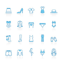line with blue background woman clothing icons vector image