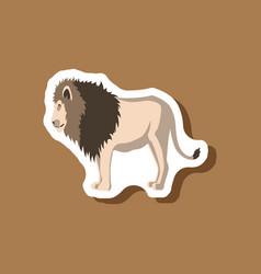 Lion paper sticker on stylish background vector