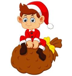 little santa sitting on sack vector image