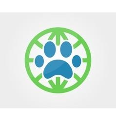 Logo design element Paw animal globe vector