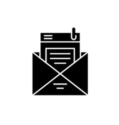 mailing list black icon sign on isolated vector image