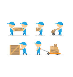 Man loader with wooden box in hands and container vector