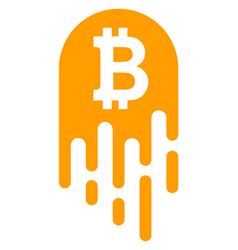 melting bitcoin flat icon symbol vector image