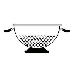 Metal kitchen strainer cooking element icon vector