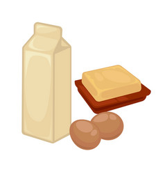Milk in cardboard pack soft butter and fresh eggs vector