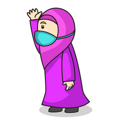Muslim girl use pink dress and hijab traditional vector