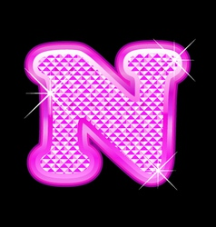 N letter pink bling girly vector