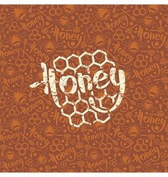 Natural honey seamless pattern and emblem vector