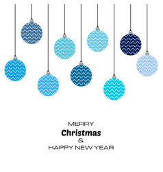 new year background with blue christmas balls vector image
