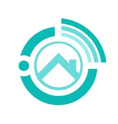 Online realty logo design house seller from vector
