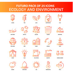 Orange futuro 25 ecology and enviroment icon set vector