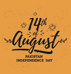 pakistan independence day 14th august emblems vector image