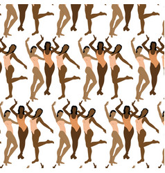 pattern with hand drawn girls in vector image