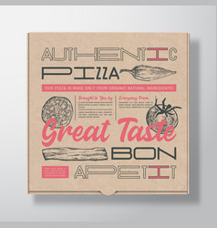 Pizza realistic cardboard box container abstract vector