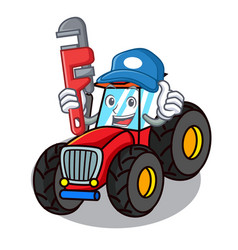 Plumber tractor mascot cartoon style vector