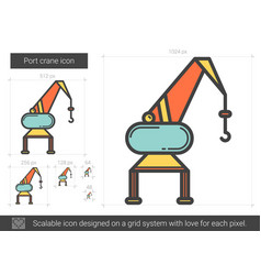 Port crane line icon vector