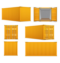 realistic set yellow cargo containers vector image