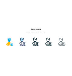 salesman icon in different style two colored vector image