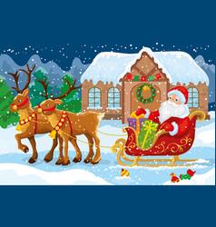 Santa claus gifts sleigh harnessed deer vector