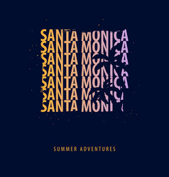 Santa monica summer graphic with palms t-shirt vector