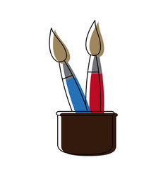 School cup with artistic utensils paint brush vector
