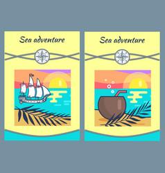 sea adventure banners set vector image
