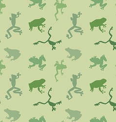Seamless pattern of green frog vector