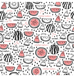 seamless pattern of hand drawn watermelons vector image