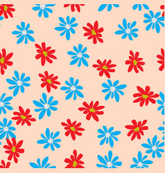 seamless pattern with color flowers vector image