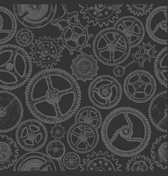 Seamless pattern with different gears vector
