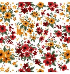 Seamless Pattern with Red and Yellow Flowers vector
