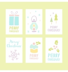 set 6 christmas cards vector image