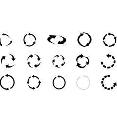 set arrow recycle circular arrows vector image