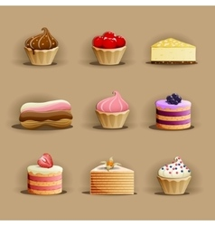 Set delicious cakes vector