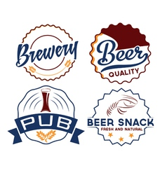 set of vintage beer emblems vector image