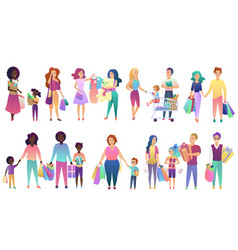 set shopping family people isolated vector image