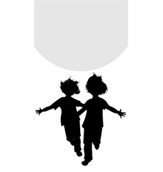 silhouettes two happy boys running with open vector image